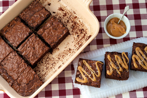Chocolate brownie with salted caramel