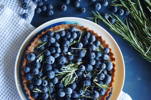 Blueberry, spelt and crystallised rosemary tart