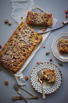 Turkish delight and date frangipane tart
