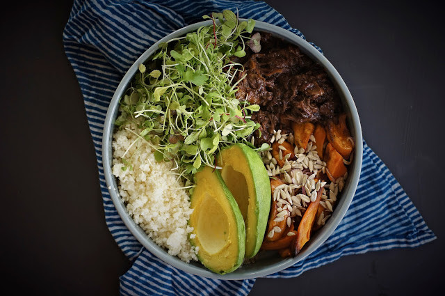 Slow roasted beef cheek winter bliss bowl with greens and cauliflower rice