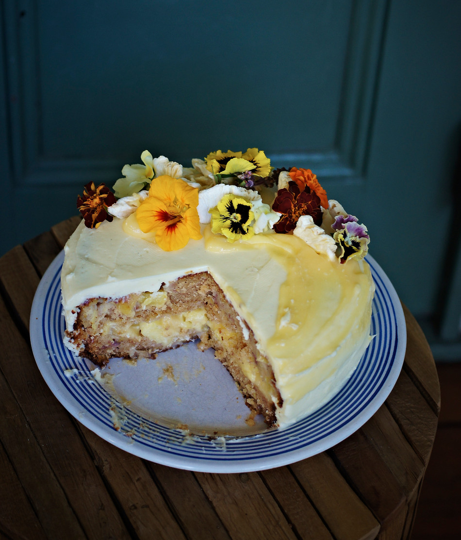 Hummingbird cake with pineapple curd & crème fraiche frosting