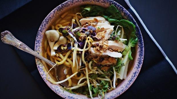 Spicy slurpy chicken & noodle goodness in a bowl