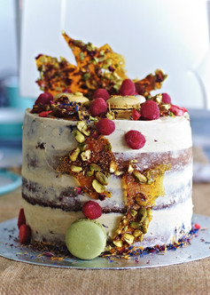 Spiced carrot and tonka bean cake with pistachio praline