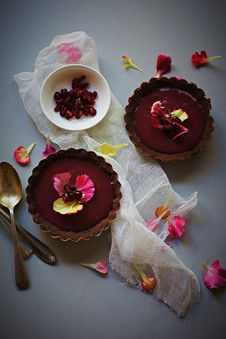 Pomegranate curd chocolate tarts