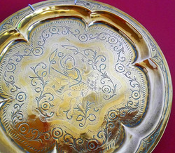 Vintage Indian brass tray on the feature wall