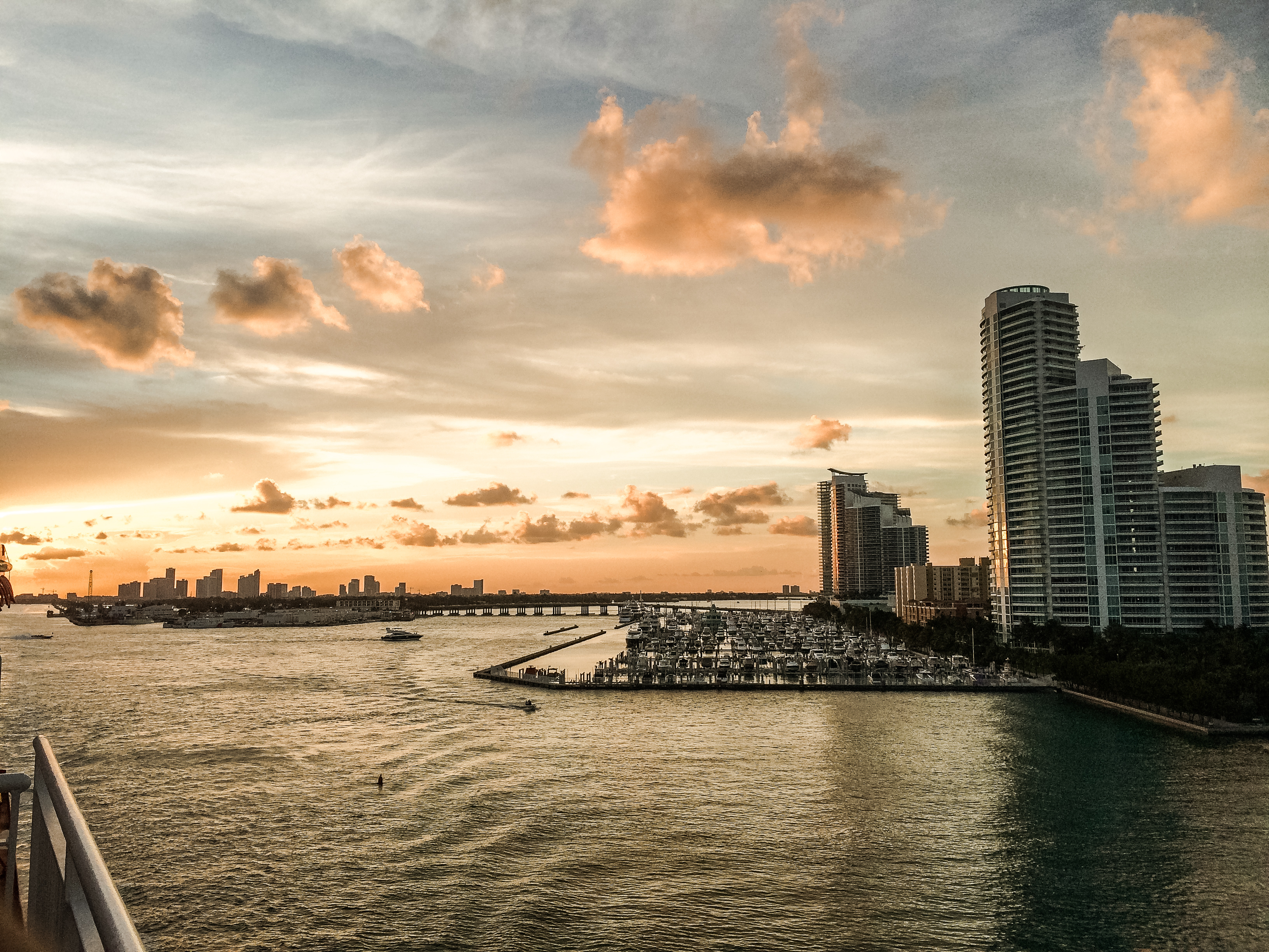 Miami sunset view from the ship