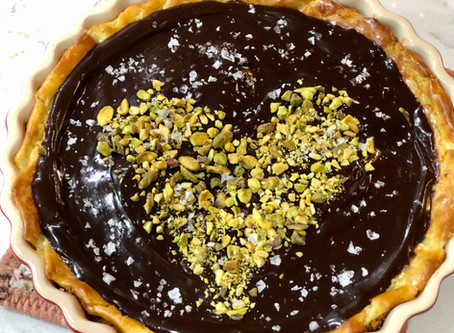 Cheesecake with dark chocolate and sea salt for my love