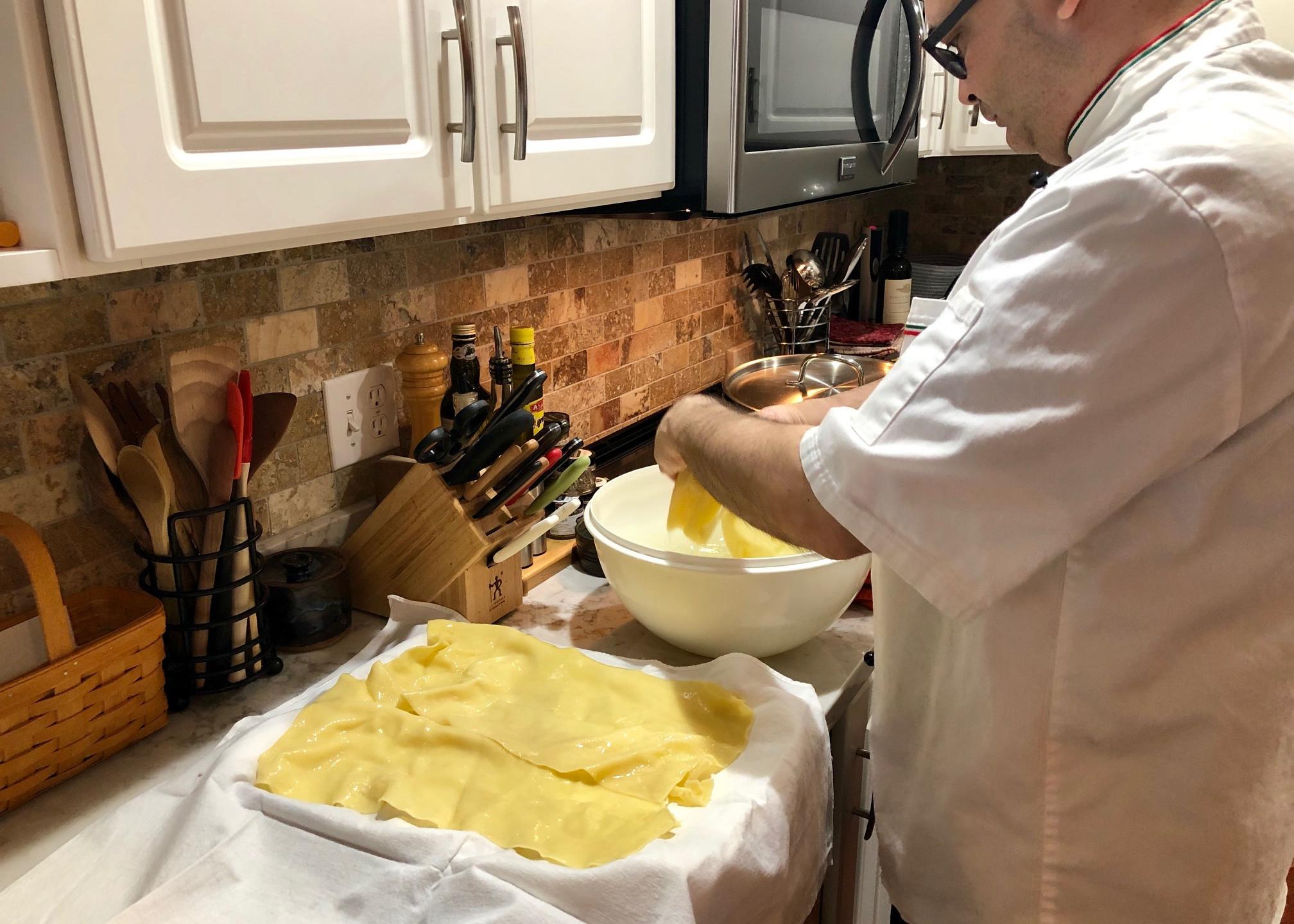 Fresh pasta cooking