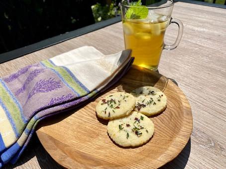 Citrus Shortbread with Sugared Herbs
