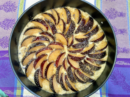 Plum and Lavender Almond Cake