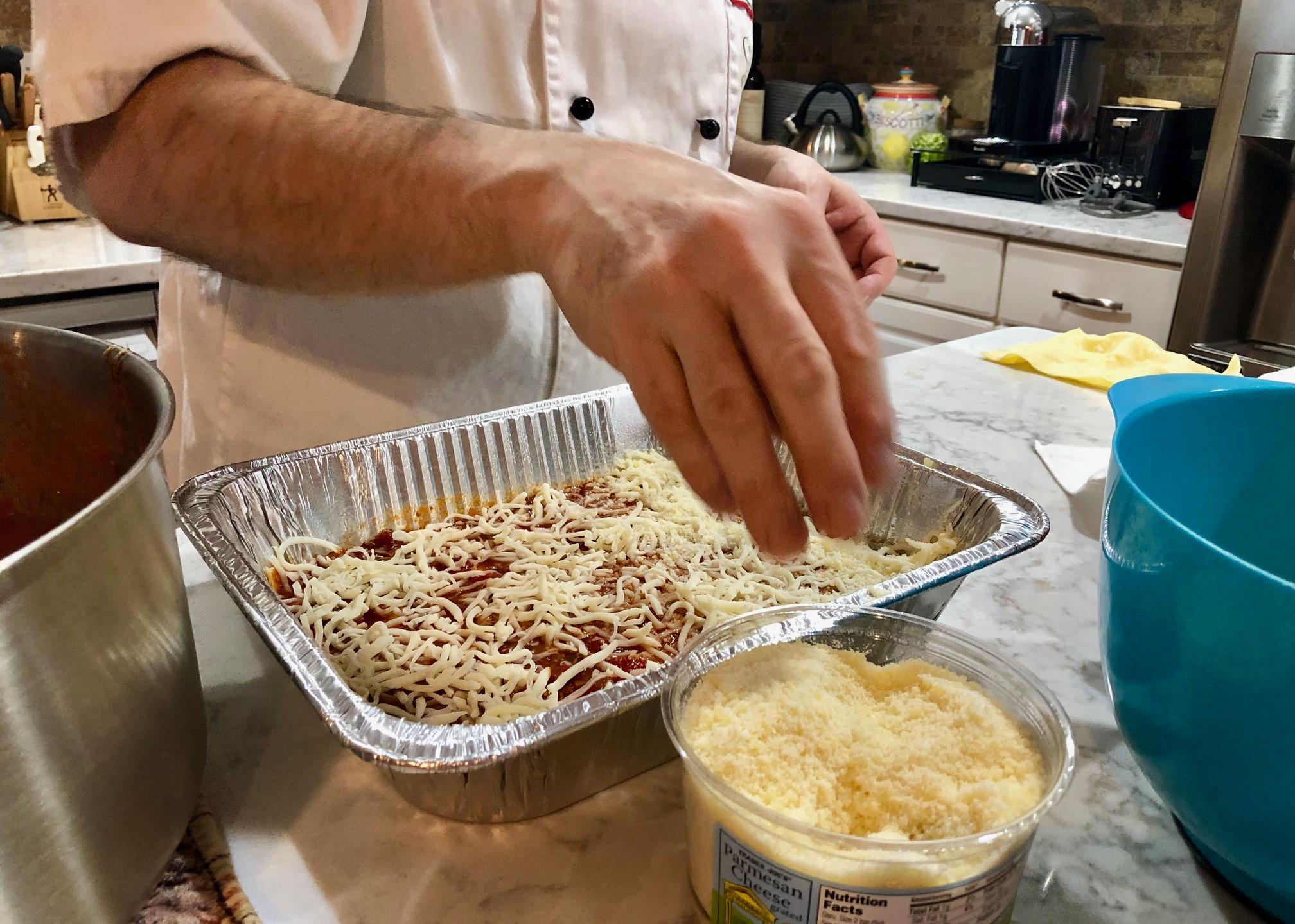 Assembling the pasta
