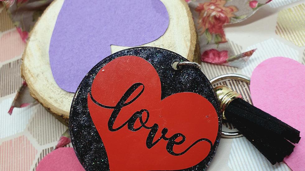 Love Glitter Key Ring