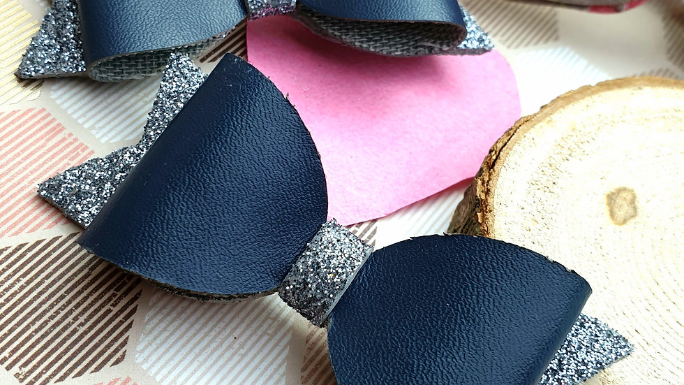 Silver and Navy Faux Leather and Glitter Hair Bows