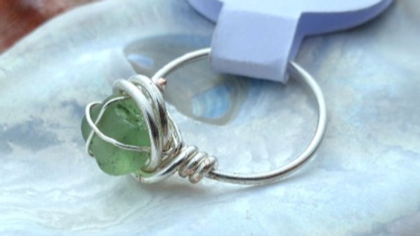 Green Sea Glass Wire Wrapped Ring