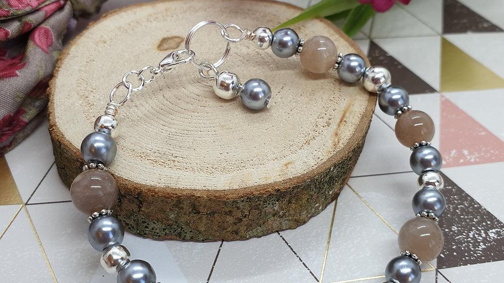Grey Moonstone Gemstone Bracelet