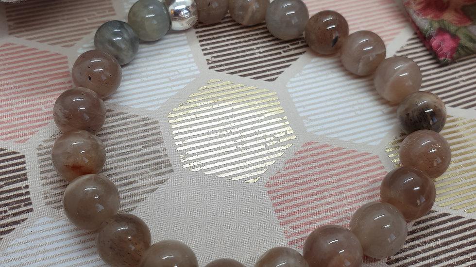 Grey Moonstone Elasticated Bracelet