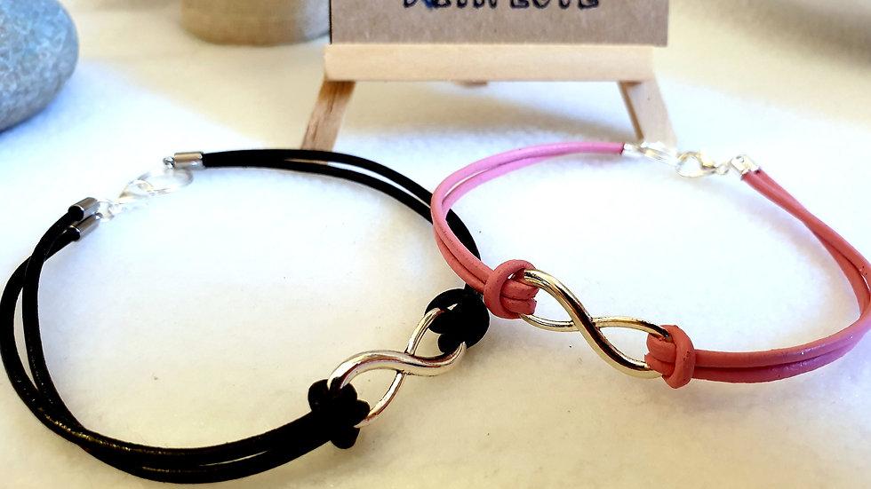 Leather Infinity Charm Bracelet