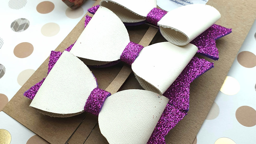 Purple Faux Leather and Glitter Hair Bows