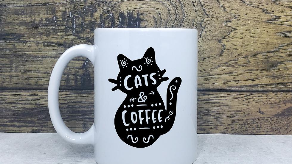 Cats and Coffee Vinyl Mug