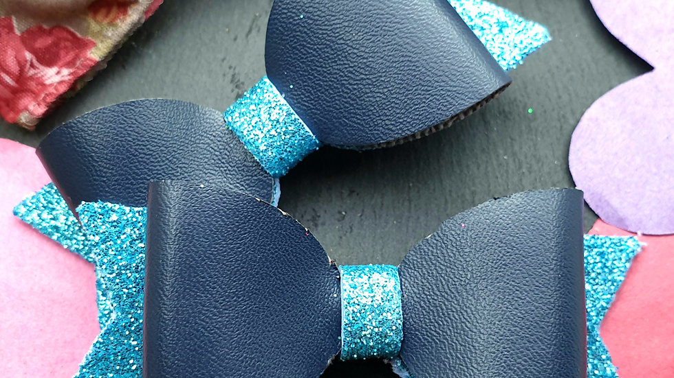 Blue Faux Leather and Glitter Hair Bows 3 Set