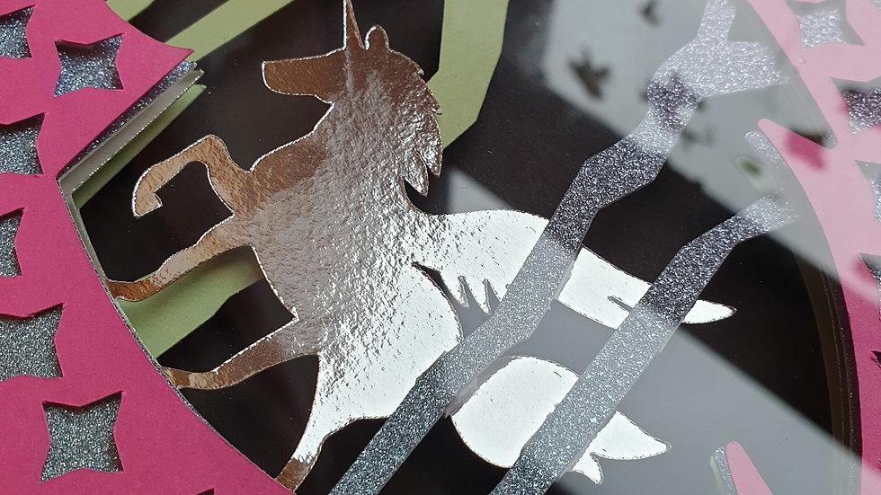 Personalised Unicorn Layered Art Frame
