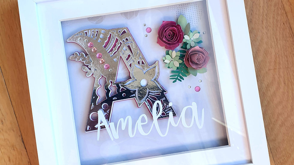 Personalised Monogram Flower Layered Art Frame