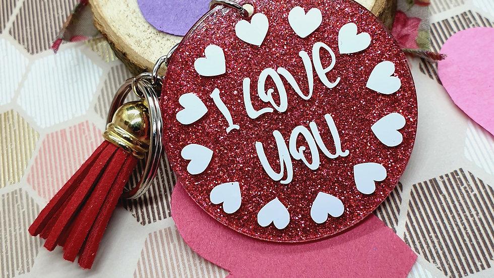 I Love You Glitter Key Ring