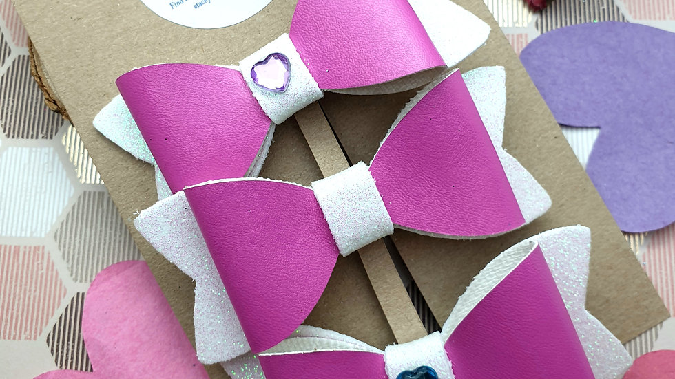 Pink Embellished Faux Leather and Glitter Hair Bows
