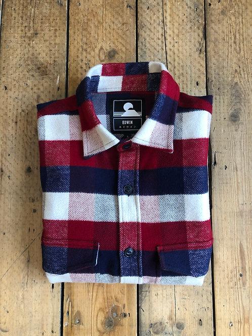 Edwin 'big shirt' brushed cotton over-shirt in bordeaux/navy