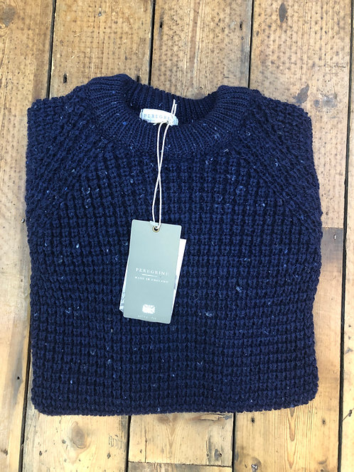 Peregrine waffle crew neck pullover in blue