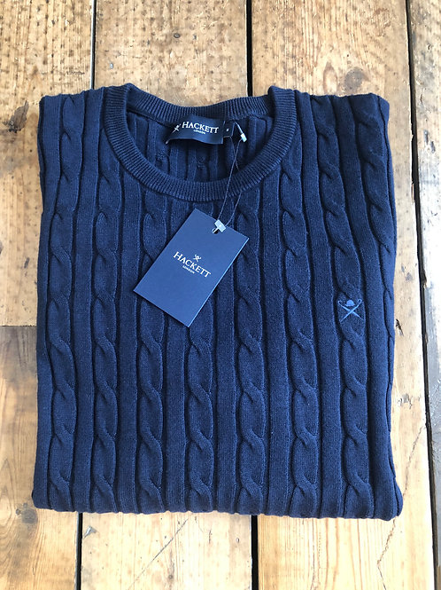 Hackett classic cable crew pullover in Navy