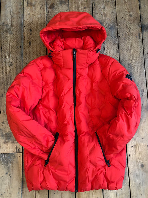 Replay Red insulated quilted jacket.