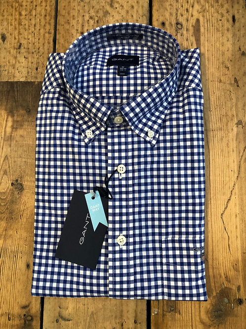 Gant broadcloth gingham shirt in college blue
