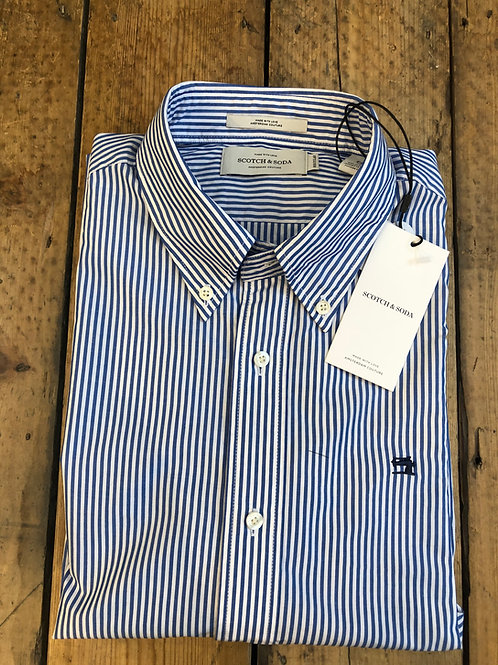 Scotch & Soda Blue and white banker stripe shirt.