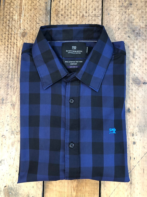 Scotch & Soda large gingham check shirt in black and navy