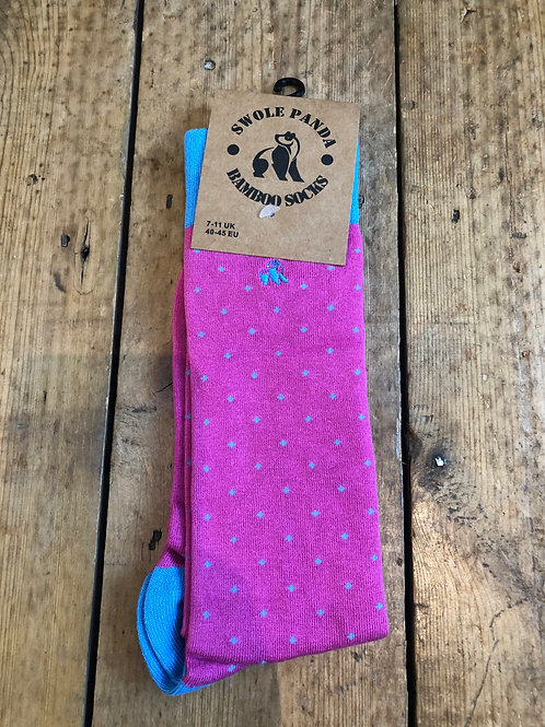 Swole Panda Sky Blue and Pink Spotted bamboo sock