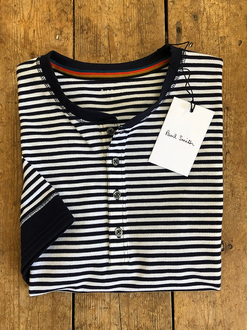 Paul Smith Navy And White Henley Stripe Cotton T-Shirt.