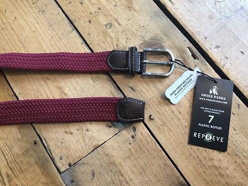Swole Panda Recycled woven belt in Burgundy