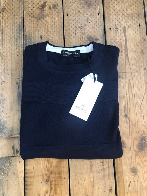 Scotch & Soda textured stripe crew neck pullover in navy