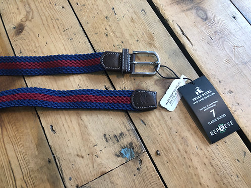 Swole Panda Recycled woven belt in Navy with red stripe