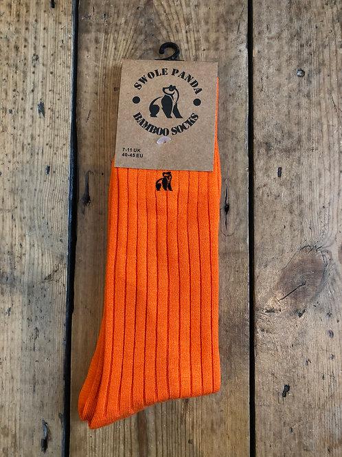 Swole Panda Orange Ribbed bamboo sock