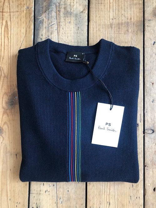 Paul Smith navy waffle knit 'Sports Stripe' pullover