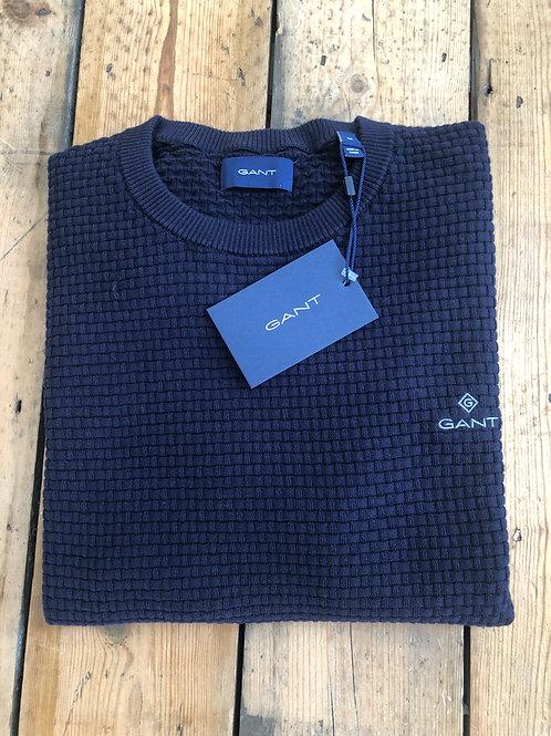 GANT signature weave crewneck pullover in evening blue