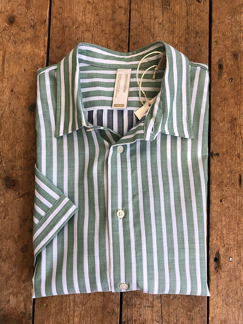 Scotch & Soda short sleeve Striped shirt in green and white