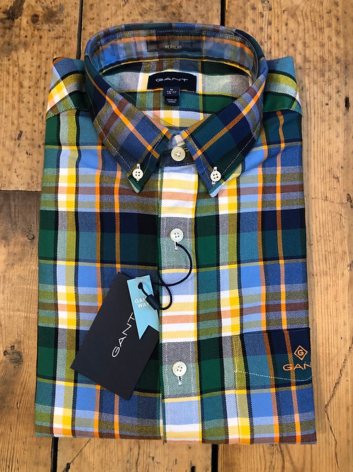 Gant Green, Blue and Yellow Plaid Oxford Shirt