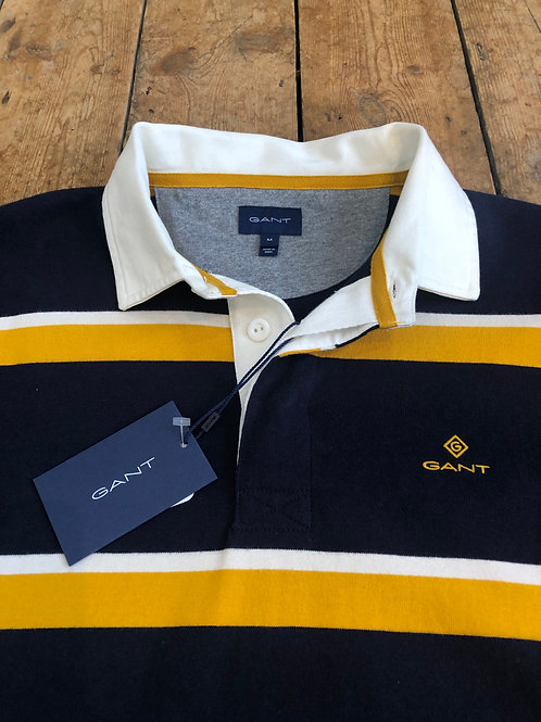 GANT Heavy Rugger Rugby shirt in Yellow, Navy and White