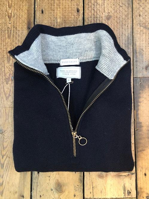 Peregrine 'Bond' Zip neck pullover in Navy