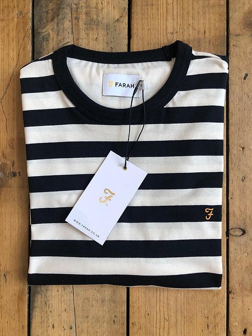 Farah 'Belgrove' stripe T-Shirt in Ecru and Navy
