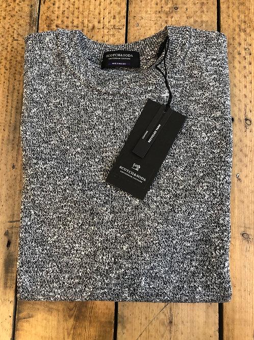 Scotch & Soda cotton crew neck pullover in Grey Melange