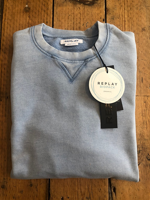 Replay biopack organic cotton sweatshirt in Periwinkle.